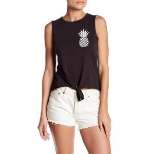 Chaser Pineapple Front Tie Muscle Tee